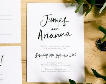 Printable Wedding Invitation - Love Is Simple / Modern Monochrome DIY Wedding Stationery Suite / Brush Lettering