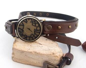 Leather watch, Women vintage wrist watch, Wrap around watch, Leather cuff watch, Dark brown