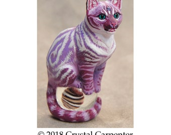 Whimsy the Tabby Cat - Altar Sculpture Cheshire Psychedelic Fantasy Feline Memorial Collectible