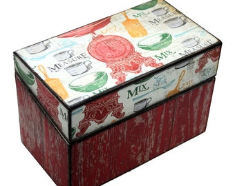 Wood Recipe Box Red Barn Wood With Cooking Words  Kitchen Storage Fits 4x6 Recipe Cards