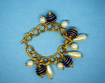 Midnight Blue, Pearl and Gold Charm Style Bracelet Fun Bracelet Fashion Jewelry Charm Style Bracelet
