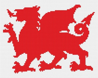 WELSH dragon silhouette counted cross stitch chart