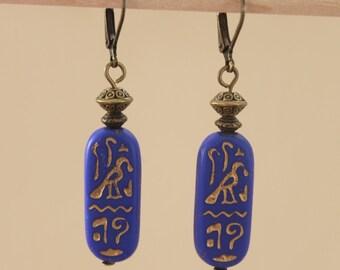 Navy Blue Earrings Jewelry Dangle Earrings Drop Earrings Czech Glass Earrings Egyptian Boho Jewelry Birthday Gift for women Gift for her
