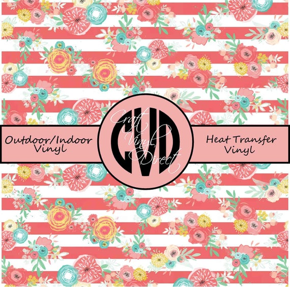 Floral Striped Patterned Vinyl // Patterned / Printed Vinyl // Outdoor and Heat Transfer Vinyl // Pattern 680