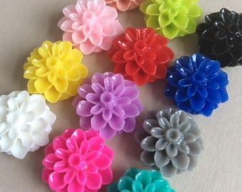 100 Chrysanthemum Cabochons Mixed Set Of Resin Flower Cabochon 15mm