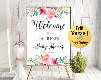 Baby Shower Welcome Sign, Baby Shower Sign, Floral Baby Shower Welcome Sign, Baby Shower Welcome Template, Editable Baby Shower Welcome