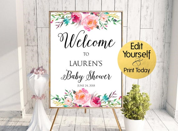 Captivating Baby Shower Welcome Sign Baby Shower Sign Floral Baby Shower