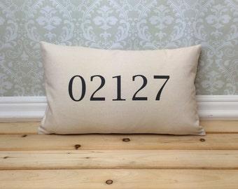 Zip Code Pillow, Long Pillow, Address Pillow, Home Decor, House Warming Gift, House Warming Pillow, Customized Pillow, Lumbar Pillow