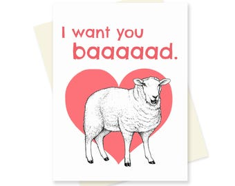 Sheep Valentine. Farm Animal Valentines Day Card. Anniversary Card. Cute Pun Card. Card for Girlfriend, for Boyfriend. Nerdy Love Card.
