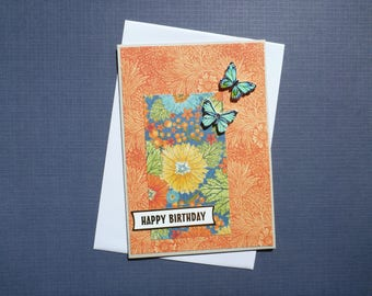 Butterfly Birthday Card  FREE SHIPPING