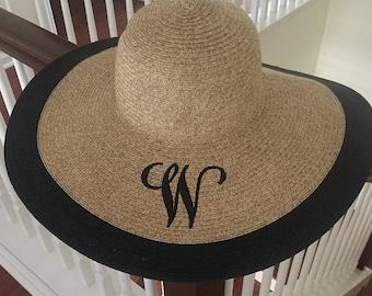 Wide Brim Sun Hat - Floppy Hat - Monogram Floppy Beach Hat