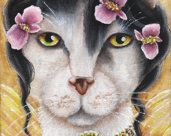 Begonia Fairy Cat Flower Faery Cats 5x7 Fine Art Print