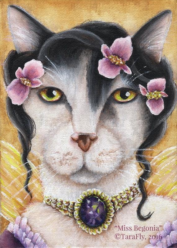 Begonia Fairy Cat 5x7 Fine Art Print