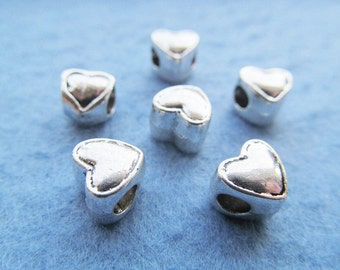 Cute Cabinet Antique Silver tone Heavy Heart Slider Spacer Beads Charm/Finding,for Bracelet & Necklace,DIY Accessory Jewellry