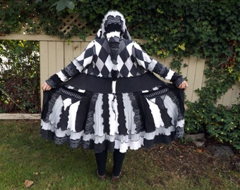 Custom Upcycled Sweater Elf Coat - Dreaming in Black and White