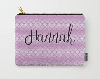 Personalized Makeup Bag Mermaid, Custom Makeup Bag, Mermaid Gifts For Daughter, Personalized Zipper Pouch Bag, Pencil Case Personalized