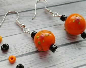 Orange Lampwork Earrings, Orange Beaded Earrings, Orange Drop Earrings, Orange Dangle Earrings, Orange Boho Earrings, Glass Bead Earrings