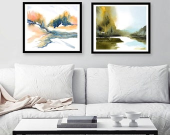 SET of 2 Prints of 32x48  on 36.5x52.5 Fine Art Paper, Horizontal Art Print Landscape, Watercolor Painting Print, Large Set of Two, Matching