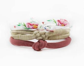 Knotted Headband, Newborn Headband Set of 3, Baby Girl Headband, Baby Bow, Baby Knot Headband, Boho Headband, Flower Bow, Top Knot, Linen