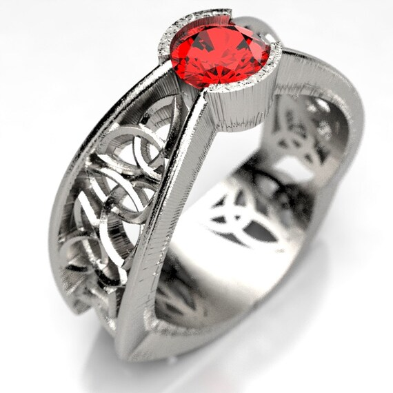 Celtic Ruby Ring With Trinity Knot Pass Through Design in Sterling Silver, Made in Your Size CR-282a