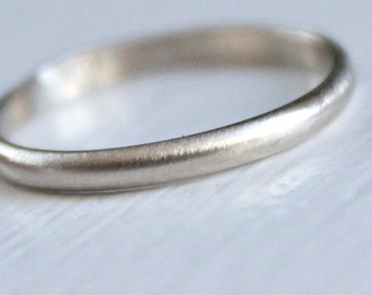 White Gold Band - White Gold Wedding Ring - Recycled 14k White Gold Band - Simple Modern Band - Brushed Finish - Stacking Ring - 2mm x 1mm