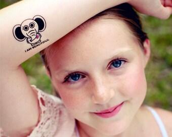 Positive Affirmation Animal Temporary Tattoos for Girls - 8 Tattoos (Motivational Tattoos - Girls Accessories)