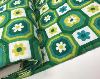 Green 70s Fabric, unused cotton fabric, deadstock fabric, unused yardage.