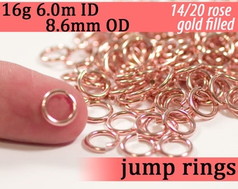 16g 6.0mm ID 8.6mm OD 14k rose gold filled jump rings -- pink goldfill jumprings 16g6.00 links