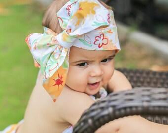 Baby Head Wrap, Baby Headwrap, Floral Baby Headband, Baby Turban, Toddler HeadWrap, Girls Bow Headwrap Turban, Baby Bow Head wrap, 2244