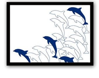 Dolphins swimming -  Kids Art Prints, swimming dolphins, sea animals, nursery decorating ideas, nursery dolphins