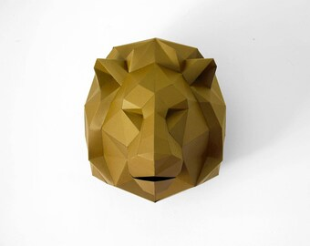 Lion papercraft Digital Download, wall decor bohemian office decor, wall sculpture faux taxidermy, geometric animal head, safari birthday