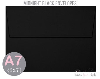 MIDNIGHT BLACK A7 Envelopes, 5x7 Invitation Envelopes, 5x7 Envelopes, Black Envelopes, Peel and Press Envelopes, Wedding Envelopes
