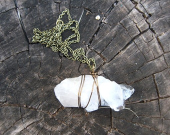 Large Crystal Quartz Point Cluster Necklace Wire Wrapped Antique Brass Chain