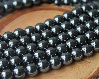 8mm Hematite Round Gemstone Dark Silver Gemstone Beads Jewelry Supply Silver Metal Beads