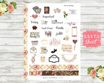KT09 Oh So Shabby - Deco Planner Sticker - Deco Sticker - Decorative Sticker - BUJO Sticker - Bullet Journal - Travelers Notebook