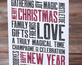 Christmas New Year Love and Joy Christmas Card Typography