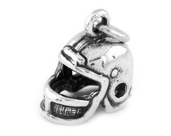 Sterling Silver Football Players Helmet Charm (3d Charm)
