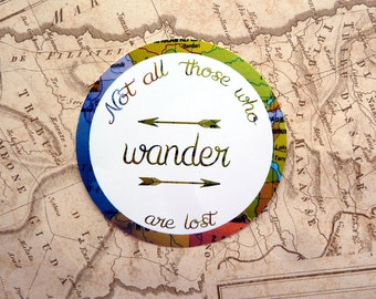 Not all those who wander are lost, Gloss Vinyl Sticker, Tolkien, Wanderlust, Quote, Travel Journal, Gift, Gap year, Laptop, Vintage Map