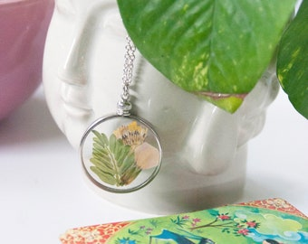 Real Pressed Flower Necklace, Pendant Necklace, All Natural