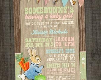 Peter Rabbit Invitation, Peter Rabbit Baby Shower, Bunny Baby Shower, Beatrix Potter Baby Shower, PRINTABLE, Peter Rabbit Birthday