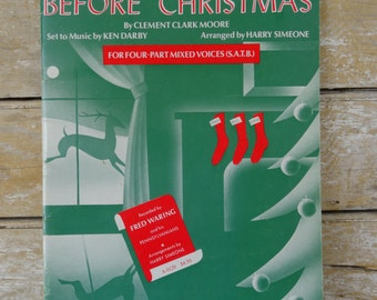 Vintage Music Christmas Book Twas The Night Before Christmas 1955