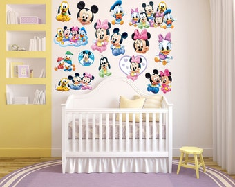 Mickey Mouse & Minnie Mouse Wall Decal Room Decor - Baby Nursery