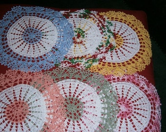 Crochet Doilies for the home,,Handmade, Blue, Varigated, Pink, Green, blue, Yellow, Peach, Lace Doilies, Ready to Ship