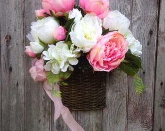 Wall Basket, Pink, White Peony, Hydrangea Basket, Spring Basket, Summer Basket, Front Door Decor, Wedding Decor, Mother's Day, Easter Basket