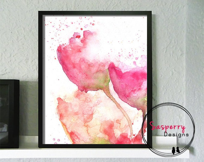 Pink Floral Art Print - Watercolor Flower Painting - Floral Nursery Print - Pink Nursery Wall Art