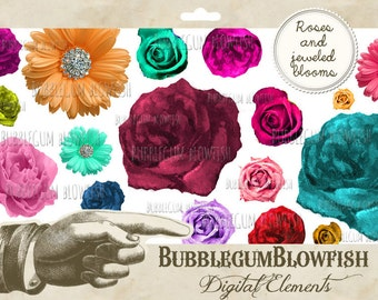 Roses and Jeweled Blooms Digital Graphic Design Elements