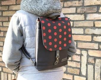 """Small Ladybug Backpack, Red Polka Dots Rucksack, Canvas Laptop Sachel, 11"""" Macbook Shoulder Bag, 2in1 Functional Backpack, Gift for Girls"""