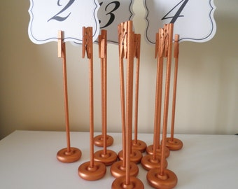 Set of 25 Handmade Extra Tall Table Number Holders Rustic Elegance - New Color! Rose Gold