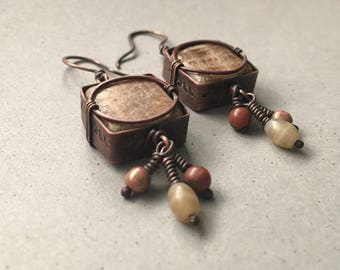 Rustic copper earrings with square sandstone feldspar in textured metal frame