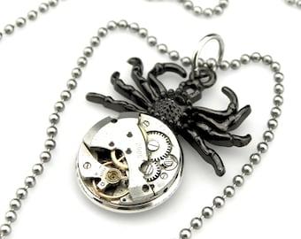 Black Widow Necklace - Tarantula Necklace - Halloween Spider Pendant -  clockwork spider pendant - Steampunk gift idea - Steampunk spider